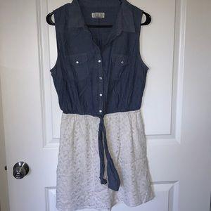 Denim and lace dress